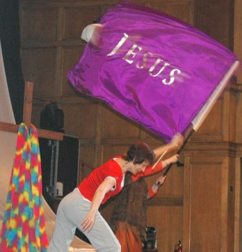 Dancing with Jesus flag